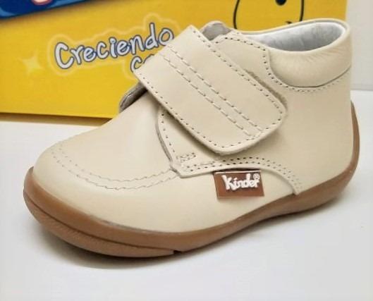 Zapato Píel Beige Para Niño Marca Kinder Mod. 4045 #12-17