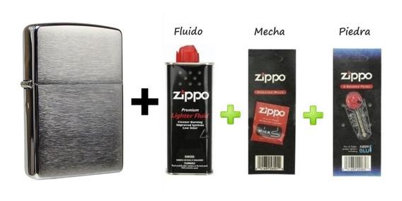 Encendedor Zippo Mod 200+fluido+piedras+mecha+grabado Gratis