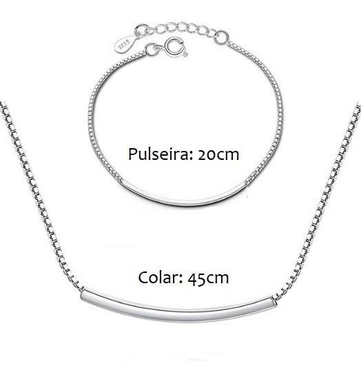 Conjunto De Prata Colar E Pulseira Feminino Mulher 925
