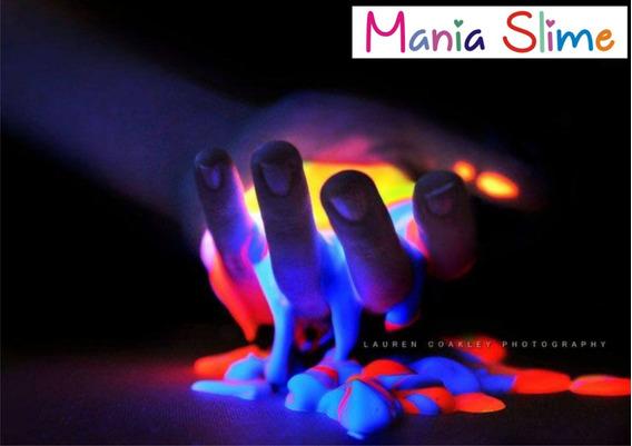 Slime Neon Kit Com 6 Potes,grátis Lanterna Com Luz Negra