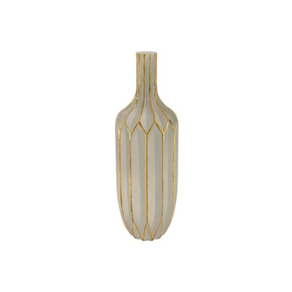 Vaso Em Vidro 36x11cm Fendi E Dourado