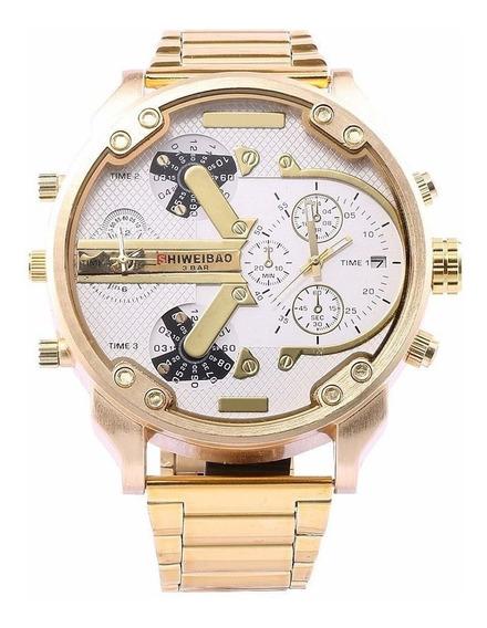 Relógio Masculino Shiweibao 3137 Gold White Diesel Big Daddy