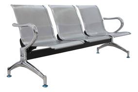 Cadeira Longarina Aeroporto Cromada 3 Lugar 12x Frete Grátis