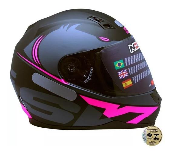 Capacete Norisk Ff391 Squalo Preto Fosco/ Pink