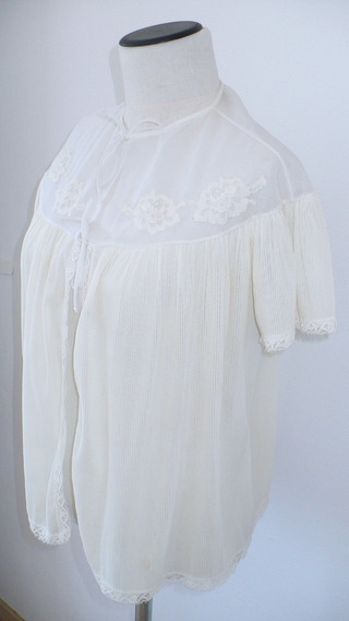 Mañanita Blusa Casaca Vintage Plisada Blanca Con Gasa