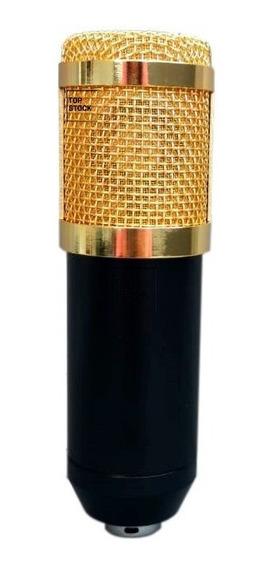 Microfone Estúdio Bm800 + Pop Filter + Aranha+phantom Power