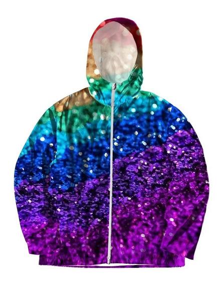 Jaqueta Corta Vento Touca Zíper Estampado Rainbow Arco-iris