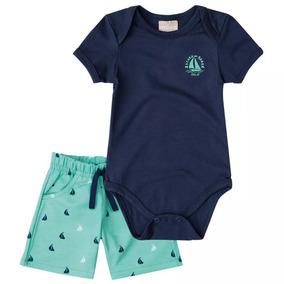 Conjunto Para Bebê Menino Formado Por Body E Bermuda.