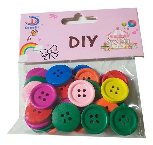 Botones De Madera Colores 2cm De Diametro