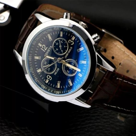 Relógio Masculino Geneva, Pulseira De Couro