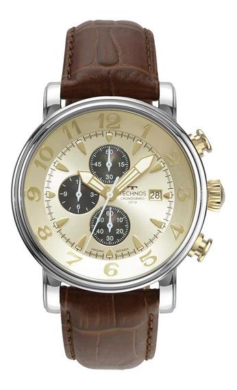 Relógio Masculino Technos Prata Com Couro Marrom Os10fi/0d