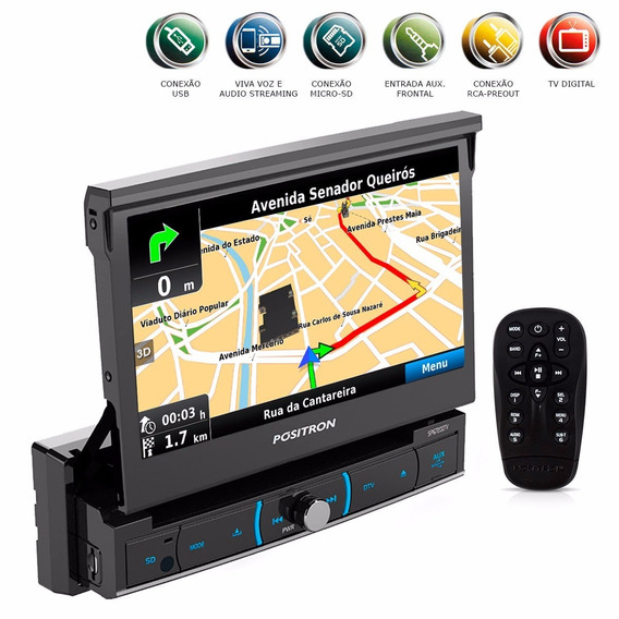 Dvd Retratil 7 1 Din Navegador Gps Bluetooth Usb Mirror