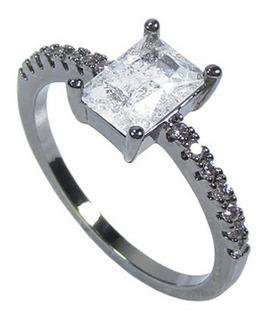 Anel Semijoia Retangular Pedra Cristal Fusion Banhado