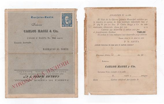 Tarjeta Carta 2 Centavos 1888 Analisis Del Carbon