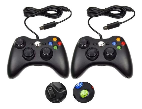 Kit 2 Controle Com Fio Xbox 360 Pc Jogos Slim Joystick Box