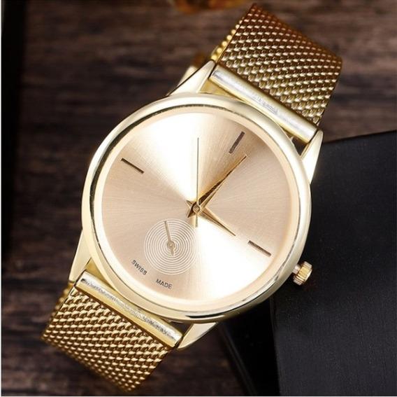 Relógio Feminino Dourado Social Quartz
