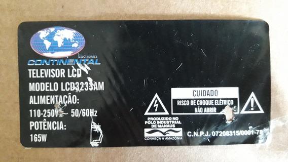 Placa Funções Com Teclado Tv Continental Lcd3233am