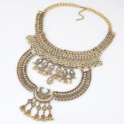 Collar Fantasia Dorado Estilo Vogue Con Diamantes