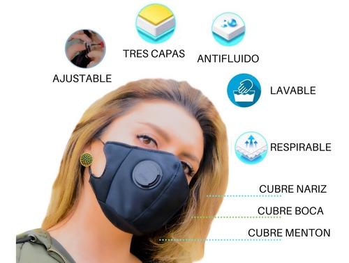 Tapabocas Mascara 2unidades 3capas Lavable Filtro Ajustable