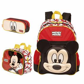 Kit Mochila Escolar Costas C/lancheira E Estojo Mickey Mouse