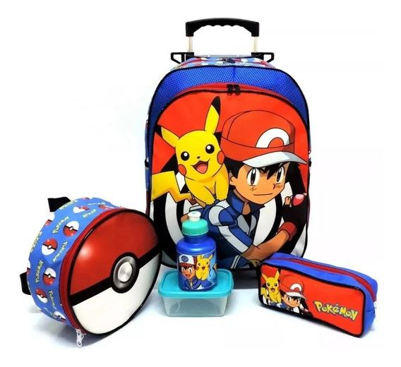 Kit Mochila Infantil Escolar Pokemon Rodinhas Pikachu G F5