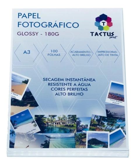 Papel Fotográfico 180g Hy-glossy Prova Dágua - 100 Folhas A3
