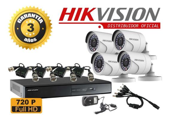 Kit De Seguridad Hikvision Dvr 8x4 Camaras 720p+balum+fuente