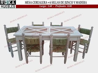 Juego Comedor Mesa Cerealera 1.60 + 6 Silla Junco Y Madera