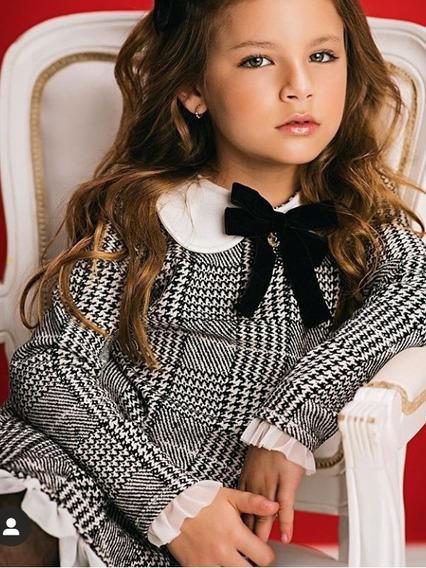 Vestido Menina Pied Poule Estiloso Blogueirinha Infantil