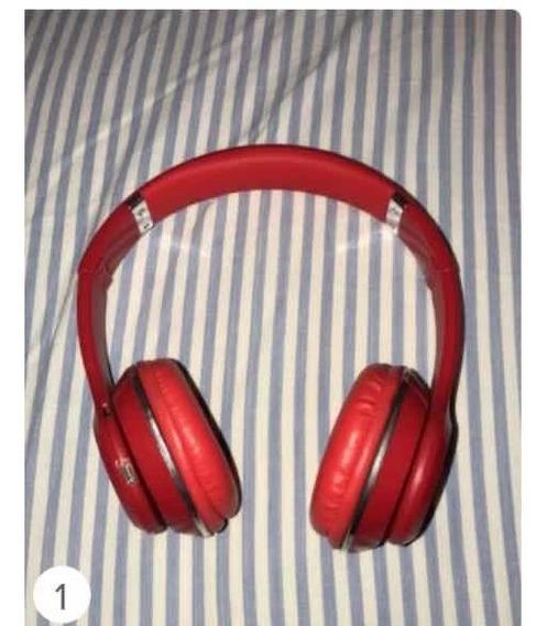 Headphone Vermelho Com Regulagem E Bluetooth Ou Fio