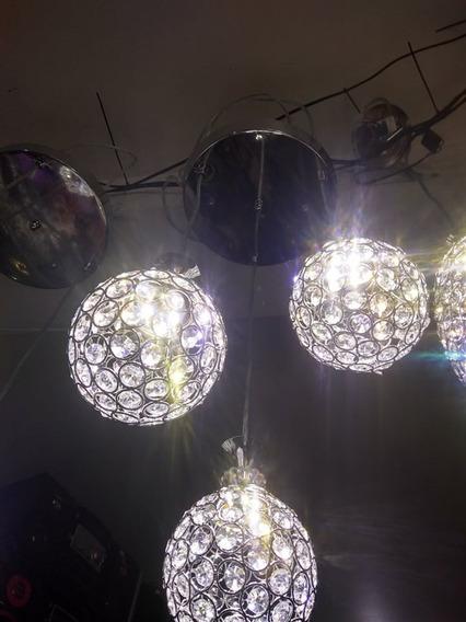 Lustre Com Três Bolas De Cristal Acrilico Led