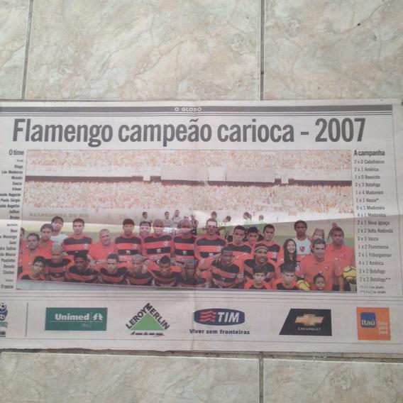 Jornal O Globo Pôster Flamengo Campeão Carioca 2007