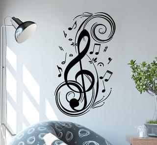 Adesivo De Parede - Clave De Sol Com Notas Musicais Música