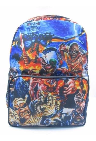 Mochila Iron Maiden Eddie Notebook Escolar Banda De Rock