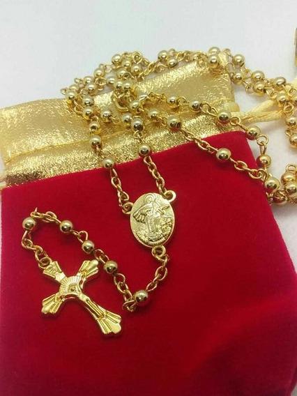 Terço Nossa Sra Das Graças Banhado À Ouro Crucifixo 60 Cm