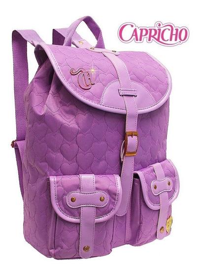 Mochila Capricho Escolar Love Lilás Purple Original Promoção