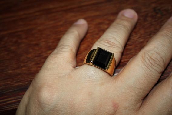 Anel Masculino Comendador Banhado A Ouro 18k Aço Titânio
