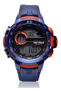 Reloj Pro Space Hombre Caucho Azul Naranja Digital Psh0063