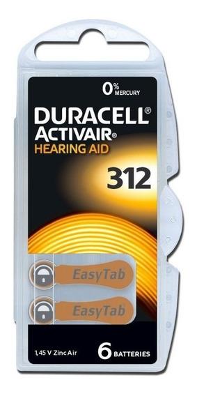 60 Baterias Aparelho Auditivo D A 312 / Pr41 - Duracell
