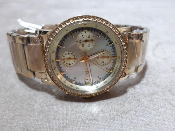 Relógio Feminino Donna Karan Dkny Dourado Com Madrepérola