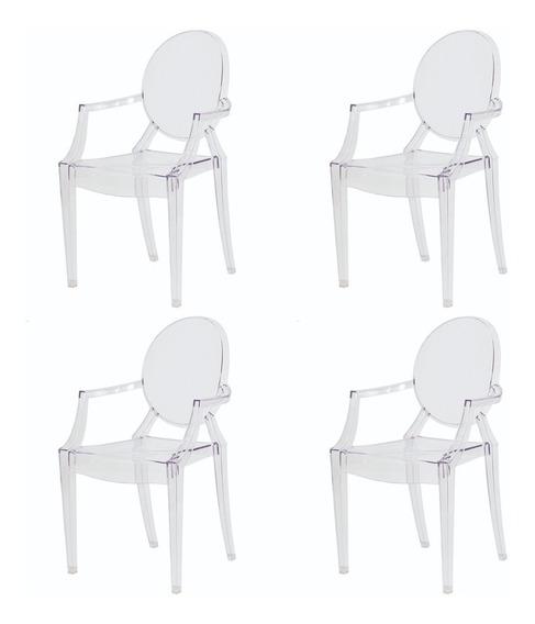 4 Cadeiras Mesa Ghost De Jantar Sofia Braço Transparente