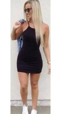 Vestido Curto Alça Cinza Preto Moda Blogueira Top