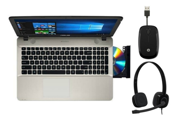 Notebook Asus + Headset Logitech + Mouse Hp