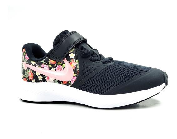 Nike Star Runner 2 Vf Bv1724-001 Negro/flores-mujer