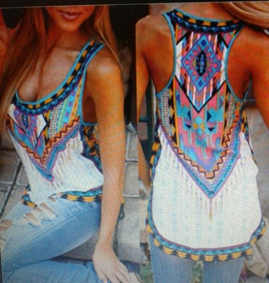 Blusa En Jersey Estampada Multicolor Talla L