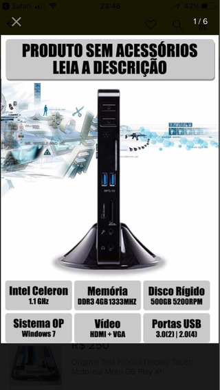Mini Cpu, Nano Pc, Celeron 1.1, 4gb Memória, Hd 500gb, Wif