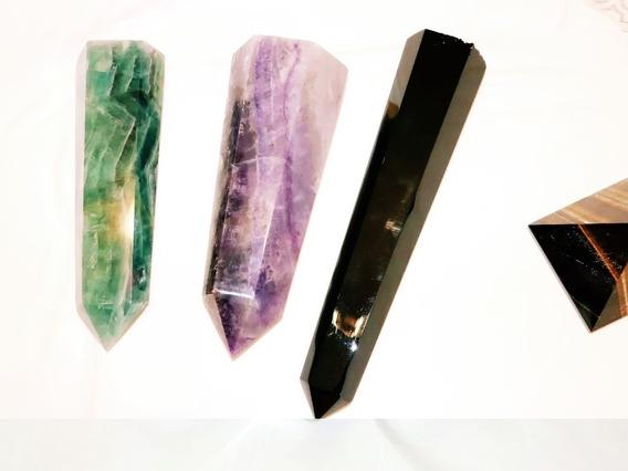 Kit Três Obeliscos Gigantes Em Cristal - Pedra De Energia