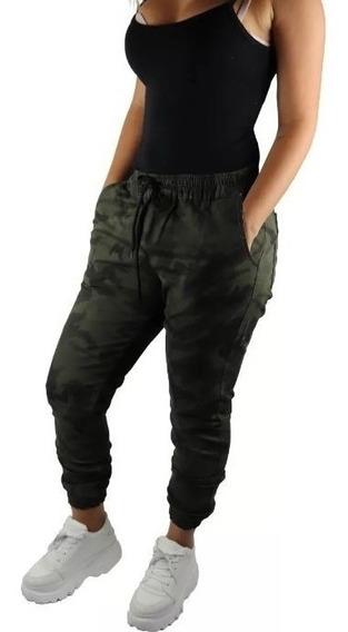 Calça Masculina Jogger Camuflada Sarja Tendencia Promocao