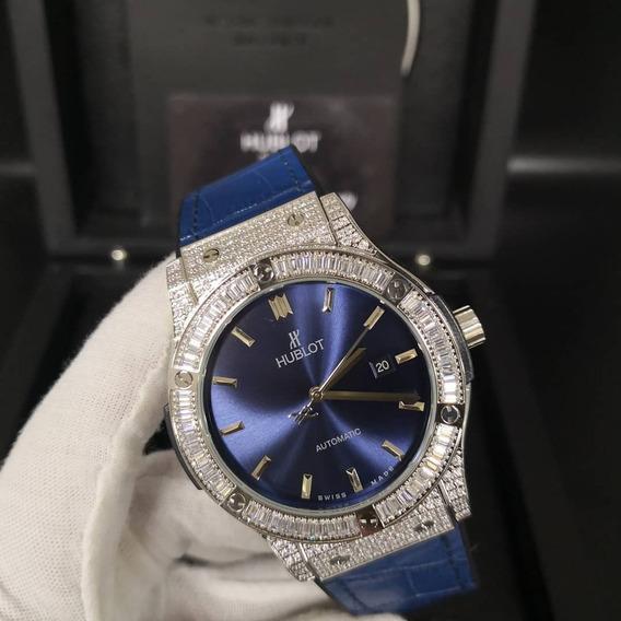 Relogio Modelo Hb Geneve Cravejado Couro Azul