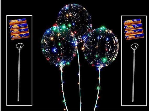 Kit/10 Balões Led Festas - Pilhas Grátis + Vareta De Suport